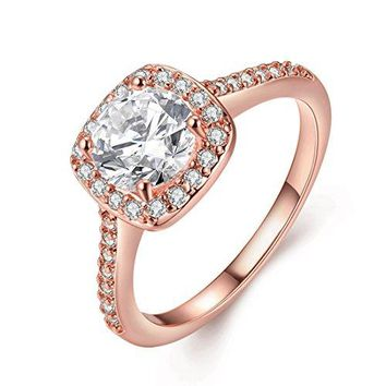 TIVANI Eternity Love Womens Pretty 18K Rose Gold Plated Princess Cut CZ Crystal Engagement Rings Best Promise Rings for Her Anniversary Cocktail Arrow Wedding Bands Collection Jewelry Rings