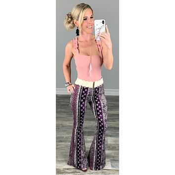 Eye Catcher Print Flare Pants - Multi