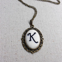 Handwriting jewelry Memory necklace Embroidered monogram necklace Cameo pendant with Custom letter Personalized jewelry gifts for mother