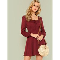 Tie Front Shirred Detail Fit & Flare Dress