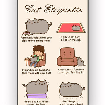 Pusheen cat cat etiquette for iPhone 4/4S Case *