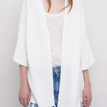 White Tassel Collarless Cardigan