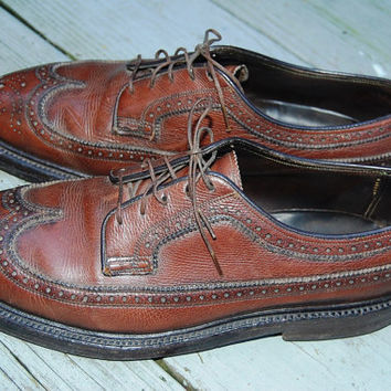 Vintage 50s 60s Florsheim Imperial Wingtips Longwings Brogues Oxfords Lace Up Classic Shoes Size 9.5 D Medium