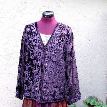 Vintage Bohemian Embroidered Beaded Velvet Jacket