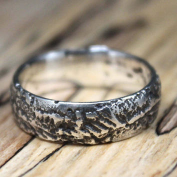 Black Silver Ring, Men's Rustic Wedding Ring, Sterling Silver Band, Textured Band, Oxidized Silver Ring, Organic Jewellery.