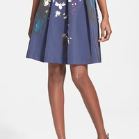 Women's Ted Baker London 'Quirina' Floral Print Pleated A-Line Skirt