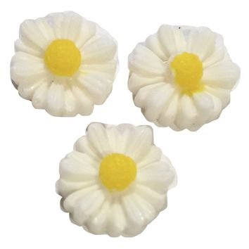 White daisy flower resin cabochon 10mm / 1-5 pieces