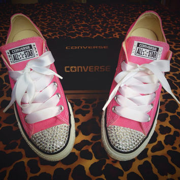 Rhinestone Converse with Ribbon Shoelaces from ConverseCustomized fea7e42fdf97