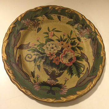 Floral Vintage Decorative Plate, Raymond Waites, Toyo Trading Co, Floral Plate, Vintage Home Decor, Hanging Plate, Vintage Wall Decoration