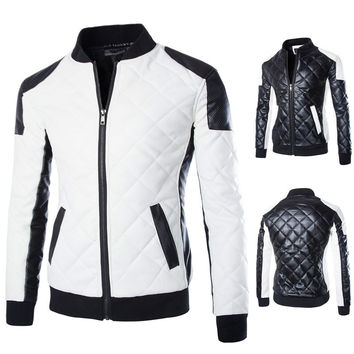 Fashionable Motorcycle Zipper Leather Jacket