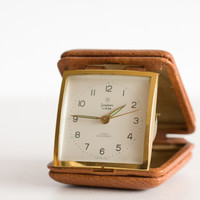 Vintage Travel Clock, Junghans Folding Case Alarm Clock, German Clock, Brick  Brown And