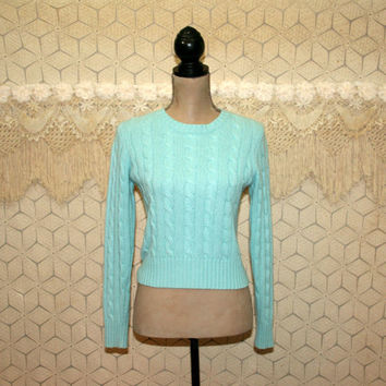 80s 90s Cashmere Sweater Womens Pullover Cable Knit Cropped Sweater Turquoise Robins Egg Blue Small Medium Vintage Clothing Womens Clothing