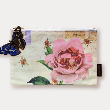 Rose with Bees Cosmetic Bag