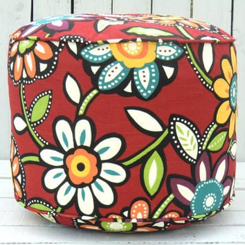 "Flower pouf ottoman in 18"", round floor pouf in red, turquoise, green and orange, round pillow ,  hippy flower floor cushion"