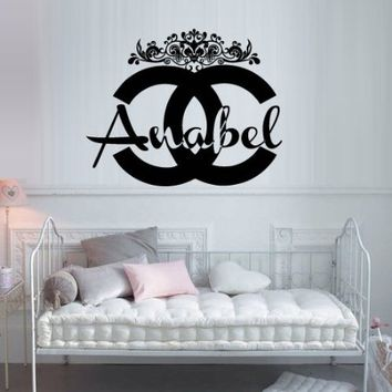 Wall Decal Vinyl Sticker Decals Art Decor Design Chanel Logo Custom Name Personalized Light Living Room Bedroom Modern Mural Fashion Like Paintings (M1406)