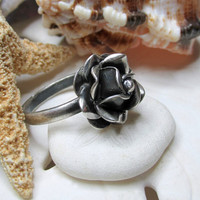 Taxco Sterling Silver 3D Open Rose Ring 5.85g Size 10