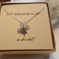 RN Pendant Sterling Silver Necklace with Pearl or Birthstone and Initial