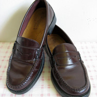 Bass Weejun Vintage 70s Shoes Preppy Dark Red Brown Leather Penny Loafer 5