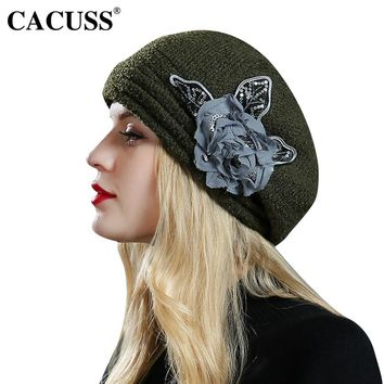 CACUSS Elegant Floral Fedoras Women Caps Party Berets England Type Female Warm Bucket Wool Hats Hot Sale