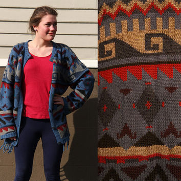 Vintage Navajo Southwestern 80's Sweater Indian Blanket Oversized Cardigan Native Ethnic Aztec Geometric Jumper
