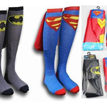 Batman Dark Knight gift Christmas DC Superman Batman The Flash Wonder Woman knee high long Socks summer style cotton weed socks party cosplay socks AT_71_6