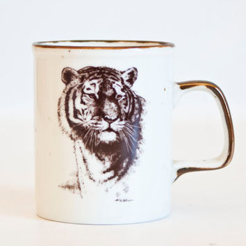 Vintage Tiger Coffee Mug, San Diego Zoological Society Coffee Cup, Big Cat Sketch Vintage Stoneware Mug