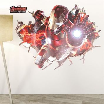 The Avengers ironmanThrough Wall Stickers Decals For Kids Rooms Nursery Home Decor 3D Effect Kids boys bedroom Poster