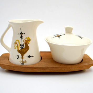 Vintage Edwin Knowles Weather Vane Cream and Sugar Set, Mid Century China Coffee Set with Wood Tray, Rooster, 1950s