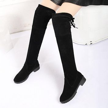 Low Heels Keep Warm Women Boots Over The Knee Boots Woman Stretch Fabric Knee High Boots Female Autumn Women Shoe Botas Mujer