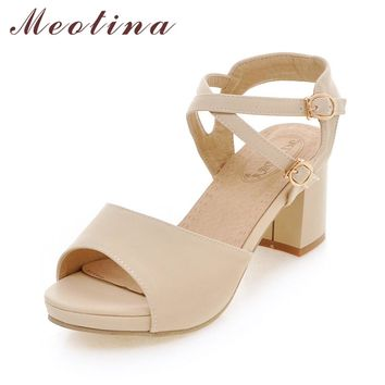 Meotina Women Shoes Sandals Platform Ankle Strap Shoes Thick High Heels Sandals Ladies Causal Sandals Beige Pink Big Size 42 43