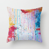 HAPPY TEARS Bright Cheerful Abstract Acrylic Painting, Drip Splat Bold Pink Red Purple Spring Art Throw Pillow by EbiEmporium
