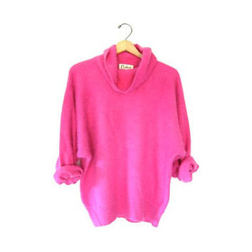 Vintage ANGORA sweater. Hot pink soft & fuzzy sweater. Slouchy batwing cowl neck sweater. Medium