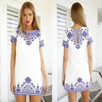 Blue and White Patterned Shift Dress