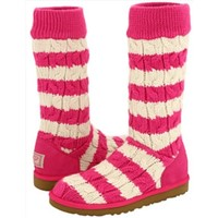 Pink and White Striped Ugg Boots (Size 9)