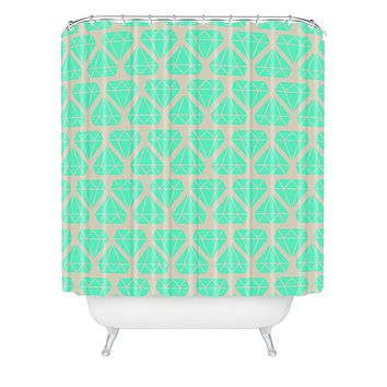 Allyson Johnson Mint Diamonds Shower Curtain
