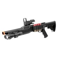 BBTac Airsoft Shotgun Pump w/ Shells - Flashlight - Red Dot