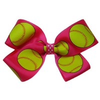 Large Hot Pink Fast Pitch Softball Hair Bow