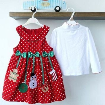 Toddler Kids Baby Girl Dress Tops Polka Princess Christmas Party Clothes Outfit
