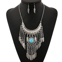 Vintage Artificial Gem Moon Leaf Necklace and Earrings