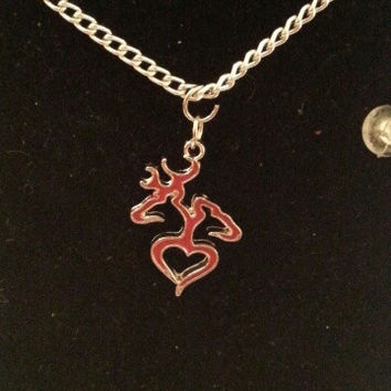 Red browning buck and doe back to back heart style necklace, earrings, key ring, set jewelry