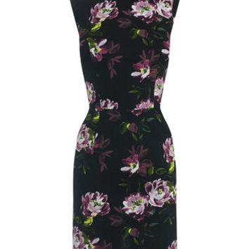 PAINTED ROSE JACQUARD DRESS