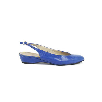 Bright Blue Leather Flats Vintage Slingback Flats 1980s Blue Leather Sandals Closed Toe Flats Low Wedge Heels Almond Toe Low Wedge Size 6