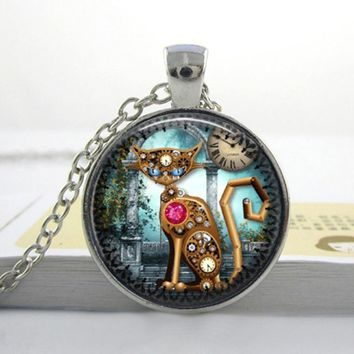 2017 Hot Sale Collares Collier Maxi Necklace Steampunk For Cat Necklace New Fashion Glass Photo Vintage Pendant Clock Jewelry