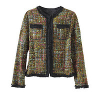 CROPPED LINED CAMEL TWEED BOUCLE JACKET SIZES L  BRAND NEW
