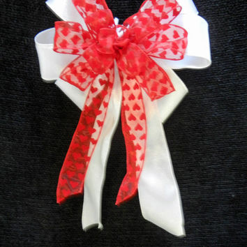 Valentine Bow sheer ribbon with red velvet hearts on White shimmering ribbon