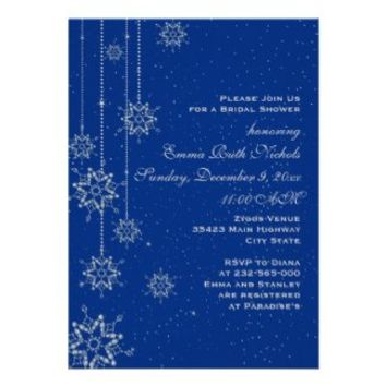 Crystal snowflakes blue wedding bridal shower personalized invites from Zazzle.com