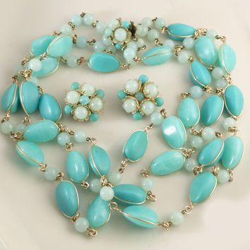 Vintage Western Germany 3 Strand Turquoise Plastic Bead Necklace and Clip Earrings