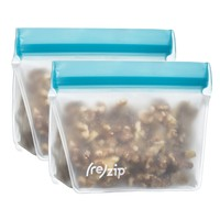 (re)zip Stand-Up 1-Cup/8-ounce Leakproof Reusable Storage Bag 2-Pack (Aqua)