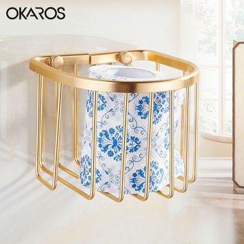 Ship Wall Mount Space Aluminum Toilet Paper Roll Basket Holder Gold Toilet Tissue Box Paper Towel Rack Bathroom Accessories