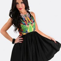 Multicolored Party Dress with Black Skater Skirt